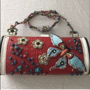 Mary Francis butterfly beaded alligator purse
